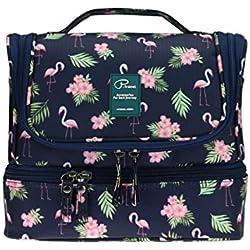 Neceser de viaje con gancho colgante para hombres y mujeres Organizador de bolso cosmético con manija Bolsa de maquillaje bolsa de diseño lindo para accesorios de viaje (Flamingo-B)