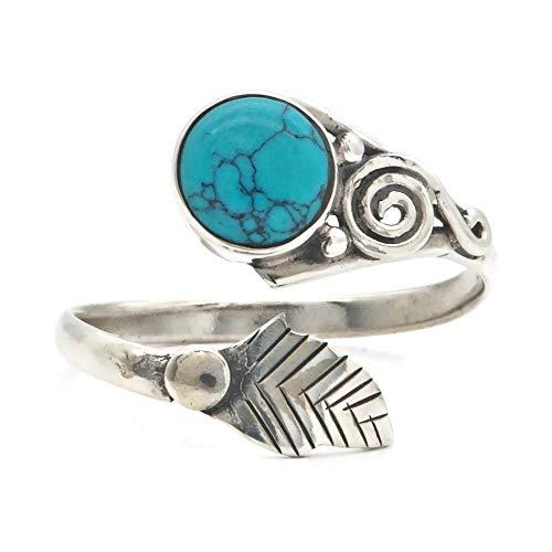 Ring Silber 925 Sterlingsilber Türkis blau grün Stein verstellbar (MRI 149)