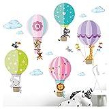 Little Deco Sticker Zoo Animaux en montgolfière I S - 75 x 44 cm (LxH) I murales Tatouage Chambre d Enfant Coeur Animaux déco Filles Stickers DL203...