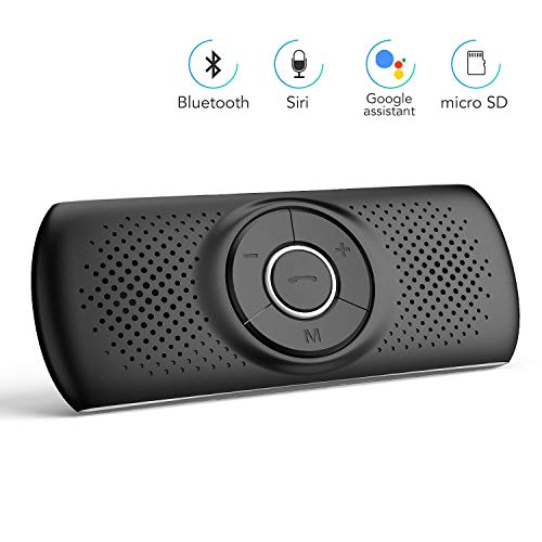 Kit Mains Libres pour Voiture Bluetooth 4.2 Haut-Parleur Micro Intégré avec Clip Support du GPS, Musique Slot Carte TF Allumage Automatique,Handsfree Bluetooth Car Kit en même Temps Pair 2 Phones