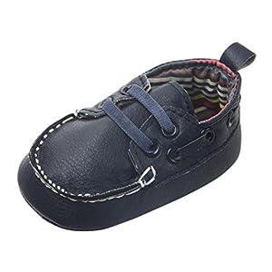 Jimmackey Neonato Calzature Flats Camminatore Del Bambino Scarpe Fagioli Pu Morbido Bottom Scarpe (3~6 mesi, Blu scuro)