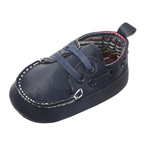 Neonato Calzature Flats Camminatore Del Bambino Scarpe Fagioli Pu Morbido Bottom Scarpe (3~6 mesi, Blu scuro)