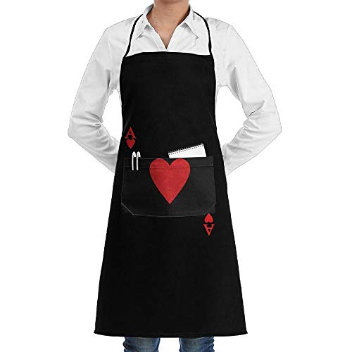 dfgjfgjdfj Ace Hearts Poker Schürze Lace Unisex Mens Womens Chef Adjustable Polyester Long Full Black Cooking Kitchen Schürzes Bib with Pockets for Restaurant Baking Crafting Gardening BBQ Grill