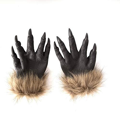 Timlatte Halloween Wolf Hände Claws Latex Horrific Kostüm Zubehör Handschuhe Creepy Cosplay Werkzeug Scary Dekorationen (Kostüm Wolf Hände)