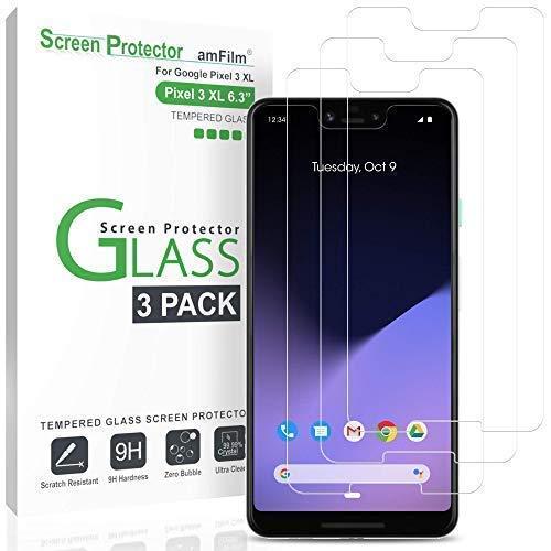 amFilm Panzerglas Schutzfolie für Pixel 3 XL (3 Stück), Schutz Hüllenfre&liche Glas Bildschirmschutzfolie für Google Pixel 3 XL