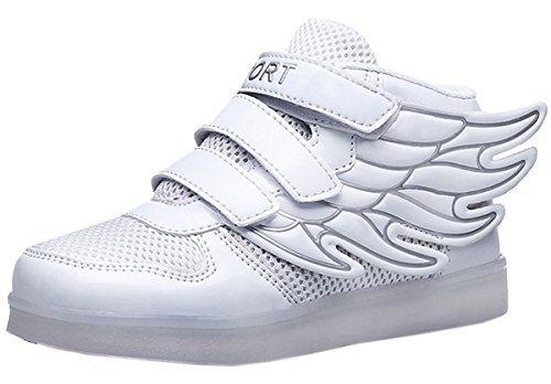 Dayiss Kinder Jungen Mädchen bunten LEDLeuchtende SportschuheHohe Sneakers Klettverschluss Turnschuhe Mit Flügel Weiß