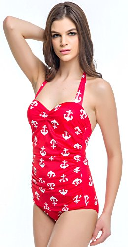 Angerella Vintage 50s Pin Up One Piece Maillots de bain monokini Rouge(ancre)