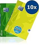 OXFORD 400095632 Schulheft OpenFlex 10er Pack A4 32 Blatt Lineatur 26 - kariert mit weißen Rand grün & zitrone