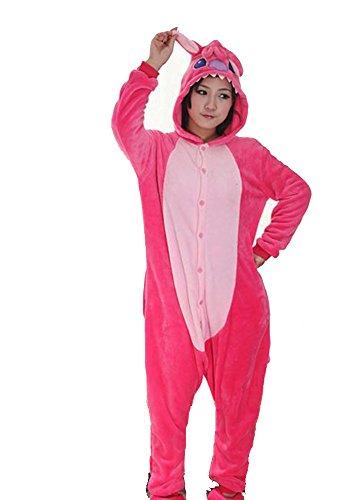 Warmes Unisex-Karnevals-Kostüm für Kinder, Einhorn Eule Zebra Giraffe Kuh, für Halloween Fest Party, als Pyjama, Tier-Kigurumi-Kostüm für Zoo-Cosplay, Einteiler - Large - Stitch Rosso