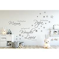Wandschnörkel® Aufkleber HM~AA13 Ein bisschen MAMA ein bisschen PAPA und ganz viel WUNDER Spruch Wandtattoo Kinderzimmer Baby Mädchen Jungen Türaufkleber, personalisiert