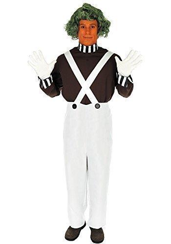 Kostüm Outfit Herren Erwachsene Oompa Loompa Buch Tag Woche Halloween Verkleidung mit Perücke 4 Teile Größe S bis XL - Weiß, (Loompa Mit Oompa Kostüm Kostüm Perücke)