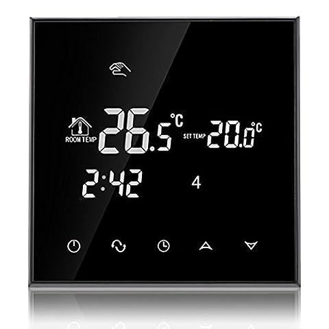 Beok TGT70-EP Programmierbare Elektrische Fußbodenheizung Thermostat Smart Digital Raum Temperatur Controller mit Glas Touch Bildschirm, 230V 16A, Jet
