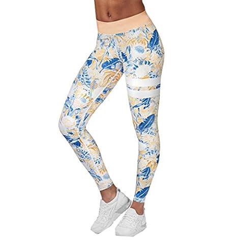 Reaso Femmes Fleur Impression leggings, Des sports Gym Faire des exercices Aptitude Salon Pants de yoga Pantalons athlétiques (Asie L, Orange)