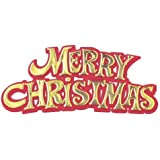 3 x Merry Christmas Red / Gold Motto Cake Decoration