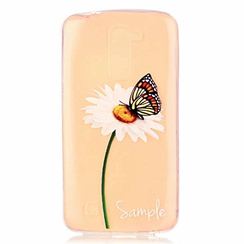 MUTOUREN für LG K10 Hülle Transparent TPU Silikon Case Cover [Kratzfeste, Scratch-Resistant] Schutzhülle Durchsichtig Fall-Abdeckung Bumper - Schmetterling und Blumen weiß (Leder Gesteppte Kappe)