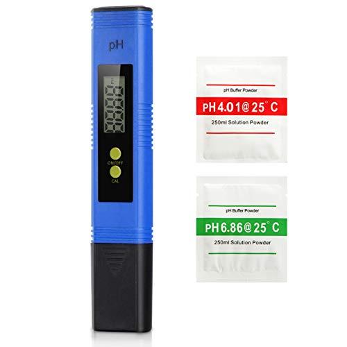 Koopower PH-Messgerät,PH-Messgerät Digital,Hohe Genauigkeit +/- 0,01, 0-14 ph ATC pH-Wert Teststreifen für Wasser, Urin, Brauen, Aquarium, Pool, Pooltester Wassertester PH-Meter-Set(Blau) (Ph-bier)