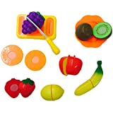 Blossom Happy Fight Cut Realistic Sliceable Fruits Cutting Play Kitchen Set Toy With Various Fruits,Knife,Plate And Cutting Board For Kids,Multi Color