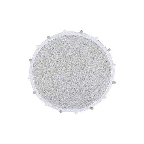 Lorena Canals - Alfombra redonda, lavable, de algodón, gris claro, 12