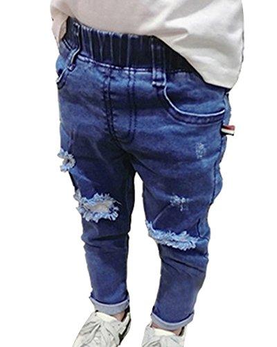 Guiran bambino ragazzi strappati jeans pantaloni vita elastica denim pantaloni cowboy pantaloni azzurro 110cm