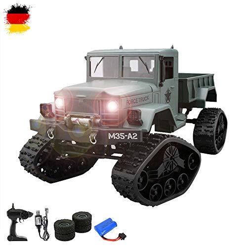 HSP Himoto U.S. M35 2.4GHz RC Ferngesteuerter 4WD Off-Road Militär Army Truck Crawler Fahrzeug Transporter, Schneeketten und Normale Bereifung, optional mit Kamera erweiterbar, Komplett-Set RTF