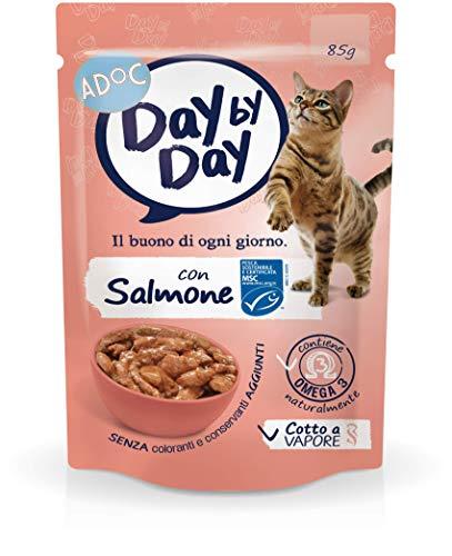 Adoc Day By Day Salmone per gatti adulti, confezione da 24 pezzi