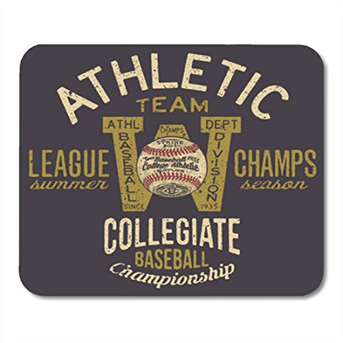 AOCCK Gaming Mauspads, Gaming Mouse Pad Graphic Athletic Baseball Team in Custom Colors Varsity Vintage Boy 11.8