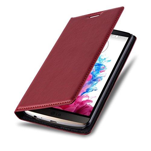 LG G3 Hülle in ROT von Cadorabo - Handyhülle mit unsichtbarem Magnetverschluss Standfunktion und Kartenfach Case Cover Schutzhülle Etui Tasche Book Klapp Style in APFEL ROT