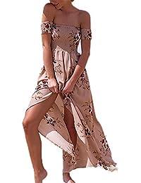 Luojida Femme Robe de Plage Bohême Longue Floral Ete Sexy Bas Irrégulière  Plissée Style ... 3a7e9987a9a