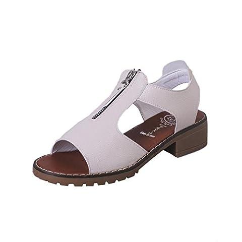 Angelof Dames bas talon loisirs InStep zip sandales romaines (39, Beige)