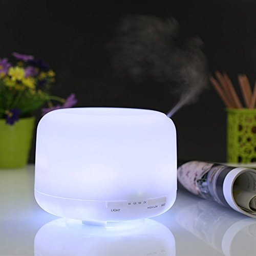 Seneo 100 ml Mini Essential Oil Diffusers Ultrasonic Aromatherapy Cool Mist Humidifiers with Auto Shut Off , 7 Color Changing LED Lamps, Mist Mode