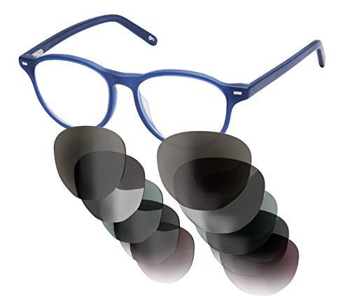 Sym Sonnenbrille mit wählbarer Sehstärke von -4.00 (kurzsichtig) bis +4.00 weitsichtig) und auswechselbaren Gläsern in 6 Farben, für Damen, Modell 02 in Crystal Dark Blue