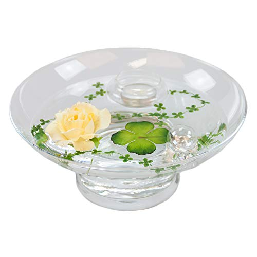 Glass Bowl Hollow H ,10 CM; diameter: 25 CM, includes decorative Rose Yellow Large) by GlaskönigÃ'® Komplett Angebote