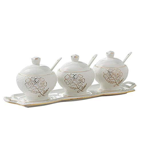 Hizljj zuccheriera in ceramica con cucchiaio di zucchero e coperchio in bambù per la casa e la cucina - bottiglia di condimento di design moderno vasetto di condimento in ceramica condimento domestico