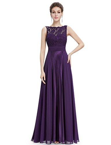Ever Pretty Robe de soir¨¦e longue sans manche en lace 08352 Violet