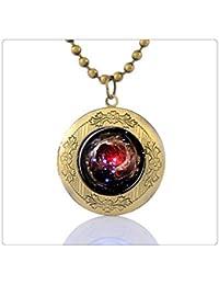 Nebulosa Universo Collar con Colgante Camafeo Nebula Universe Jewelry–Collar de cristal de corazón