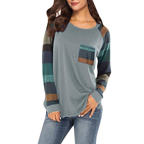 TEBAISE Damen Langarmshirt Baseball Langarm T-Shirt Rundhals Sweatshirt Frauen Patchwork Blusen Top Herbst Baumwolle Shirt Tops Leicht Rundhals Pullover