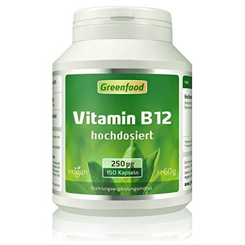 Greenfood Vitamin B12 (Methylcobalamin), 250 µg, hochdosiert, 150 Vegi-Kapseln – wichtig für Nervensystem und Denkvermögen, stimmungsaufhellend. OHNE künstliche Zusätze. Ohne Gentechnik. Vegan.