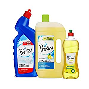 Amazon Brand - Presto! Combo (Toilet Cleaner 1 L + Surface Cleaner 975 ml + Dishwash Gel 750 ml)