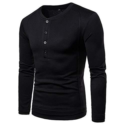 WOBANG Herren T-Shirt, Solid Langarm V-Ausschnitt Splicing Pullover Tops Pullover mit Knopf Stilvolle weiche Polyester Fleece Innen für Herbst Winter Warme Männer Bluse (Large, Black)