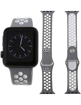 Für Apple Watch iWatch 38mm Sport Silikon Ersatz Band Armband Silber+Weiß