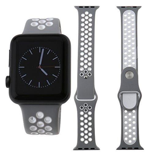Preisvergleich Produktbild Für Apple Watch iWatch 38mm Sport Silikon Ersatz Band Armband Silber+Weiß