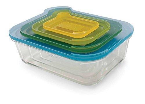 Joseph Joseph 81060 Nest Glass platzsparendes Aufbewahrungsbehälterset, 4-teilig, Glas, blau / gelb / hellgrün / dunkelgrün, 27.5 x 21 x 10 cm (2 Tasse Glas Vorratsbehälter)