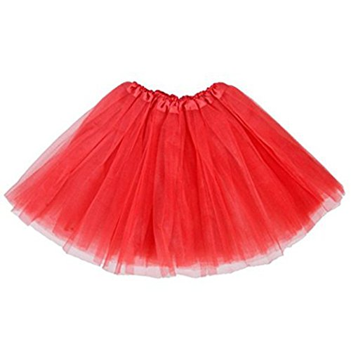 Jastore ®13 kurz Damen Regenbogen Röckchen krasse Mädchen Tütü Cosplay Karnevalskostüm Tüllrock Partykleid Rock geschicht Tüll (Tutu Mädchen Tüll Rot)