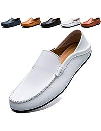 KAMIXIN Mocassins Homme Été Loafers Cuir Mode Respirant Chaussures de  Conduite Plat Flâneurs Chaussures Décontractées Slip 7758fc9e61a3