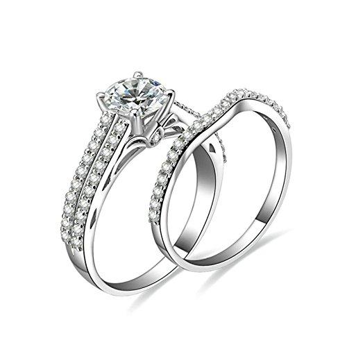 Anazoz anelli in argento 925 fedina 6.5mm taglio rotondo cubic zirconia incisione gratuita fedine nuziali argento misura 16