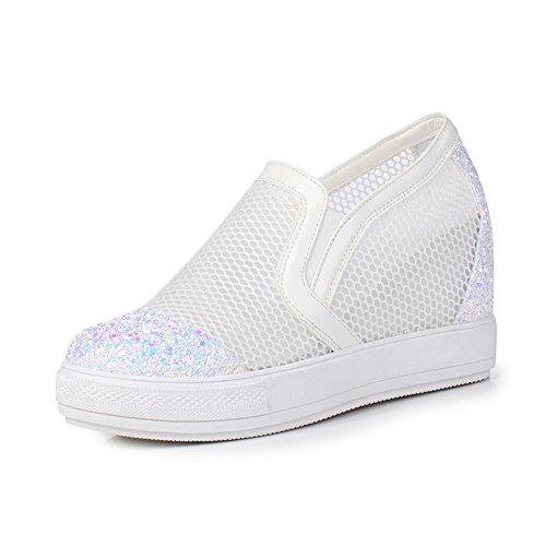 scarpe di alta aggiunta versione coreana/Ladies paillettes maglia cava sandalo con tacco/basso scarpe primavera estate sole Bianco