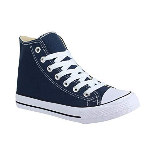 Elara Unisex Sneaker | Sportschuhe für Herren Damen | High Top Turnschuh Textil Schuhe P E-8 Dunkelblau-43