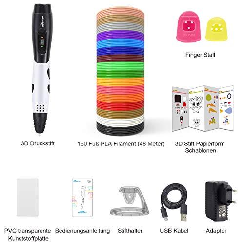 3D Stifte + PLA 16 Farben - 3D Stifte Set für Kinder mit PLA Farben 120 Fuß und 250 Schablonen eBook, Tipeye 06A 3D Pen als kreatives Geschenk für Erwachsene, Bastler zu kritzeleien, basteln, malen und 3D drücken - 2