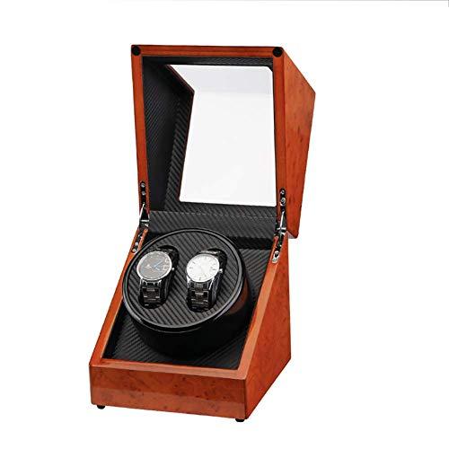 KYCD Automatik Uhrenbeweger für 2 Uhren, rotes 2-Tisch-Elektrouhrengehäuse mit Einzelkopf, rotierendes Motorgehäuse mit Automatikaufzug,Schwarz -
