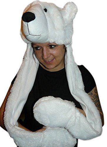 Eisbär-Mütze für Kostüm, F54A, Eisbärmützen Eisbären Mützen, Zubehör für Eisbär-Faschingskostüm, Fasching Karneval, Faschings-Kostüme, Geburtstags-Geschenk Erwachsene